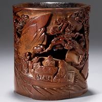 清十八世紀 竹彫東坡泛舟筆筒