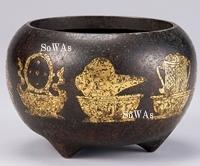 清 銅鎏金吉祥紋三足爐
