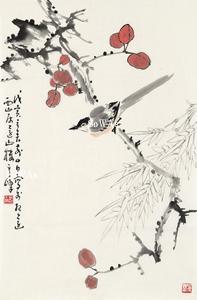 孫其峰「花鳥」額装