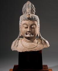 唐~五代 石彫加彩菩薩頭像