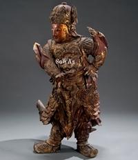 明 木彫漆金韋陀像