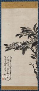 石岑山人「金丸綴枝図」掛軸