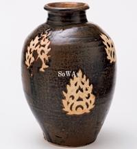宋 吉州窯剪紙花紋瓶