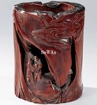 明 竹彫人物紋筆筒