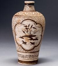 宋 吉州窯荷塘清趣梅瓶