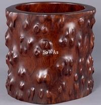 清 木彫筆筒