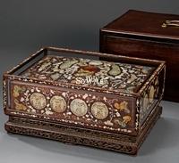 清 造辦処製白玉螺鈿琺瑯嵌翡翠八寶紋藏寶盒