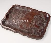 紅木彫葡萄紋茶盤