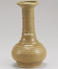 宋 龍泉窯黄釉弦紋瓶