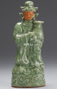 元 龍泉窯露胎人物形花器