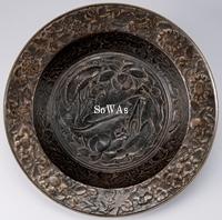 元 古銅浮彫魚藻紋銅大火盆