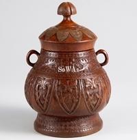 竹彫仿銅紋蓋罐