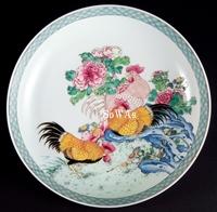 清 雍正粉彩牡丹遊鷄紋皿
