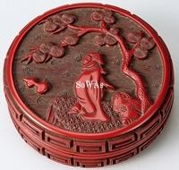 剔紅人物紋香盒