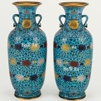 民國 銅胎琺瑯彩菊紋花瓶一対