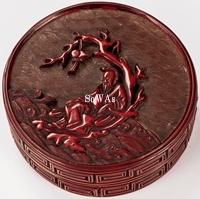 剔紅許由人物紋香盒