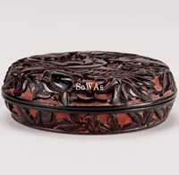 明 剔黒花鳥紋香盒
